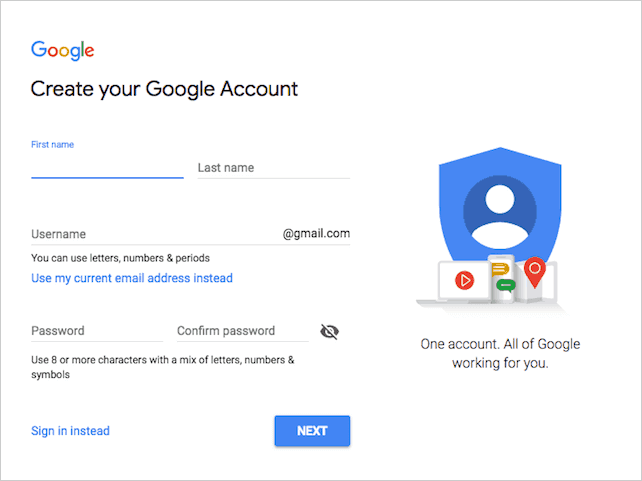 Creating a new Google account