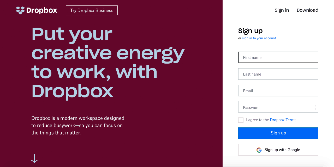 signing up to Dropbox cloud storage service