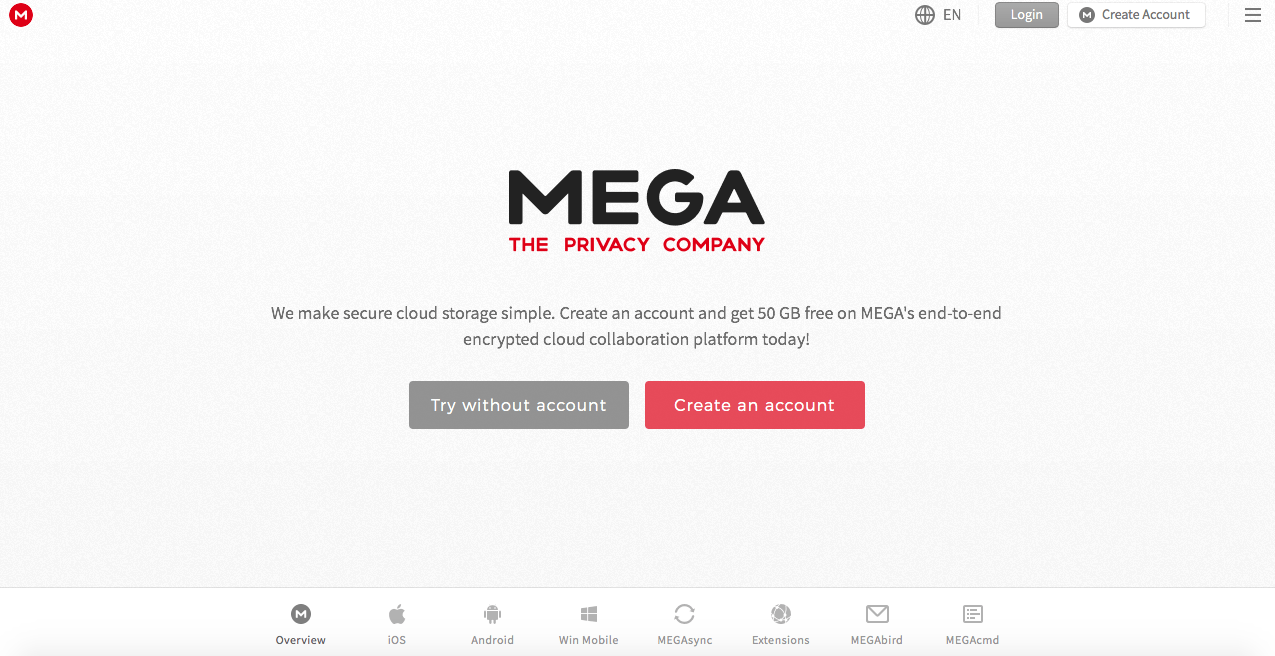 Creating a Mega account