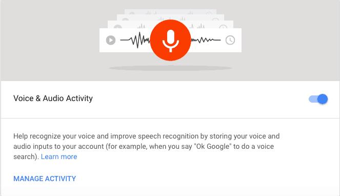 google voice and audio activity