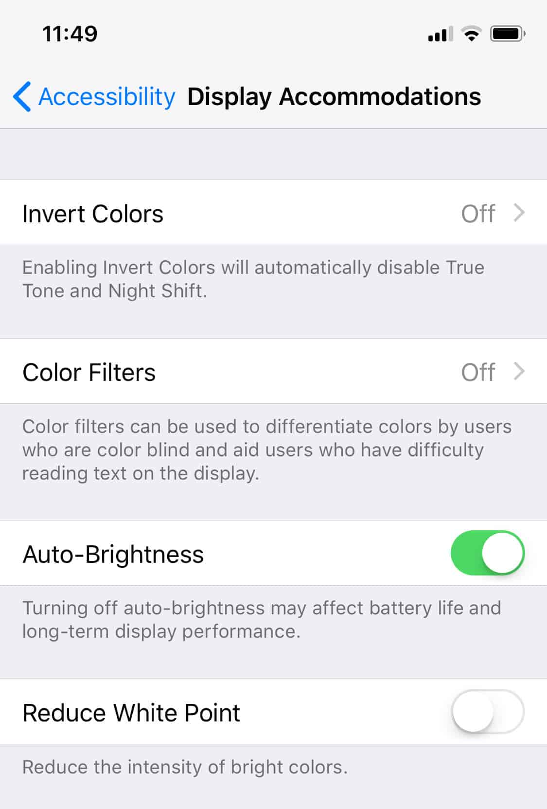 Accessibility settings on iOS
