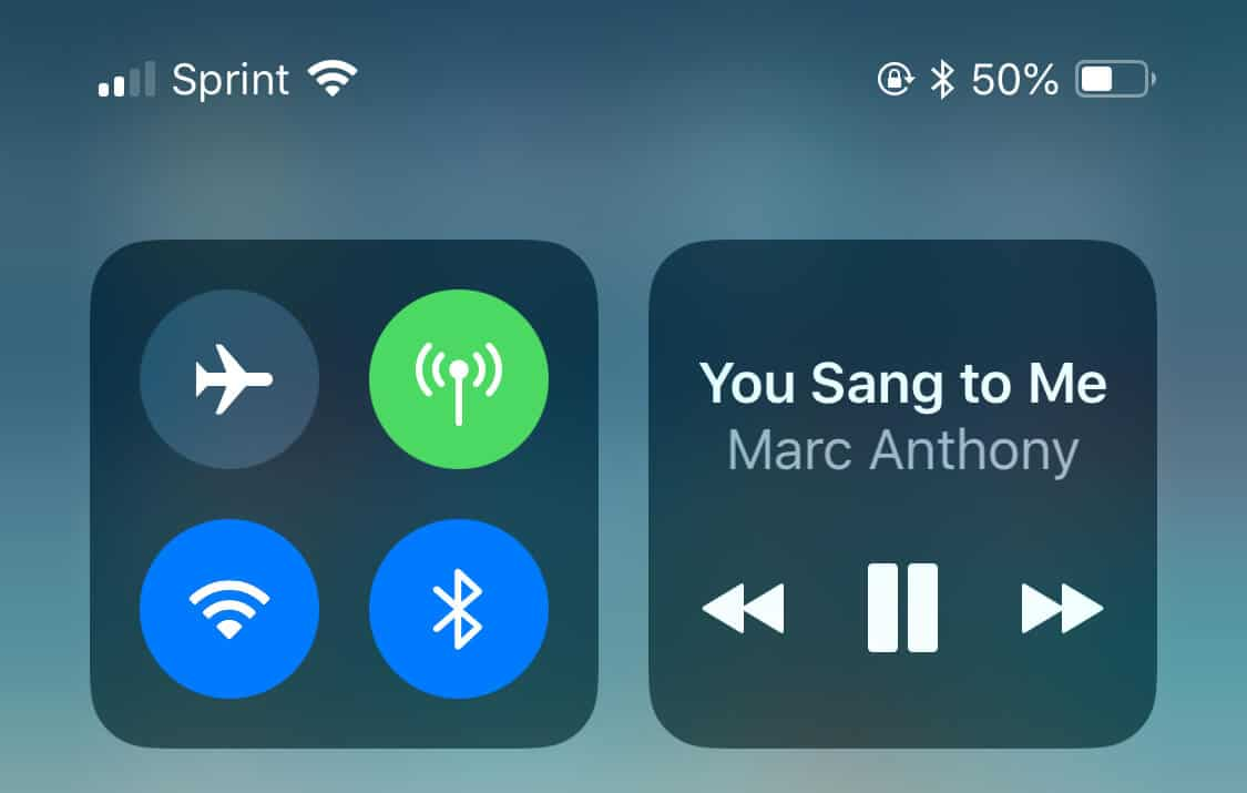 Bluetooth and WiFi icons in control center