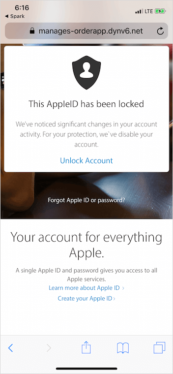 Apple ID locked warning message