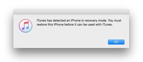 iPhone detected in recovery mode