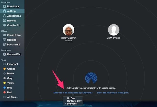 Screenshot of Mac AirDrop discoverable settings.