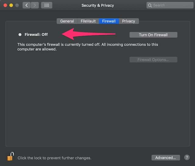 Screenshot of macOS method for turning Firewall off to fix AirDrop not working.