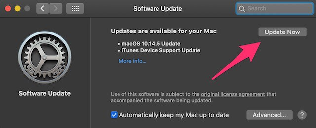 Screenshot of macOS method for updating software.