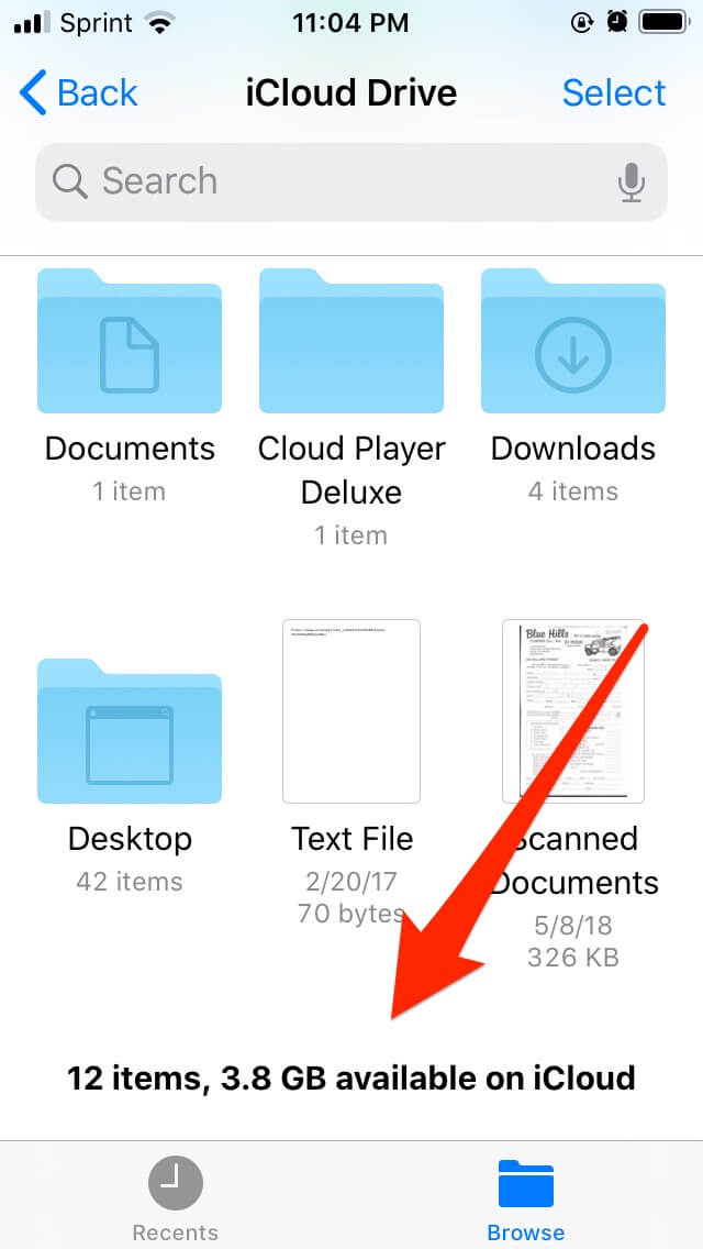 checking iCloud Drive's available storage space