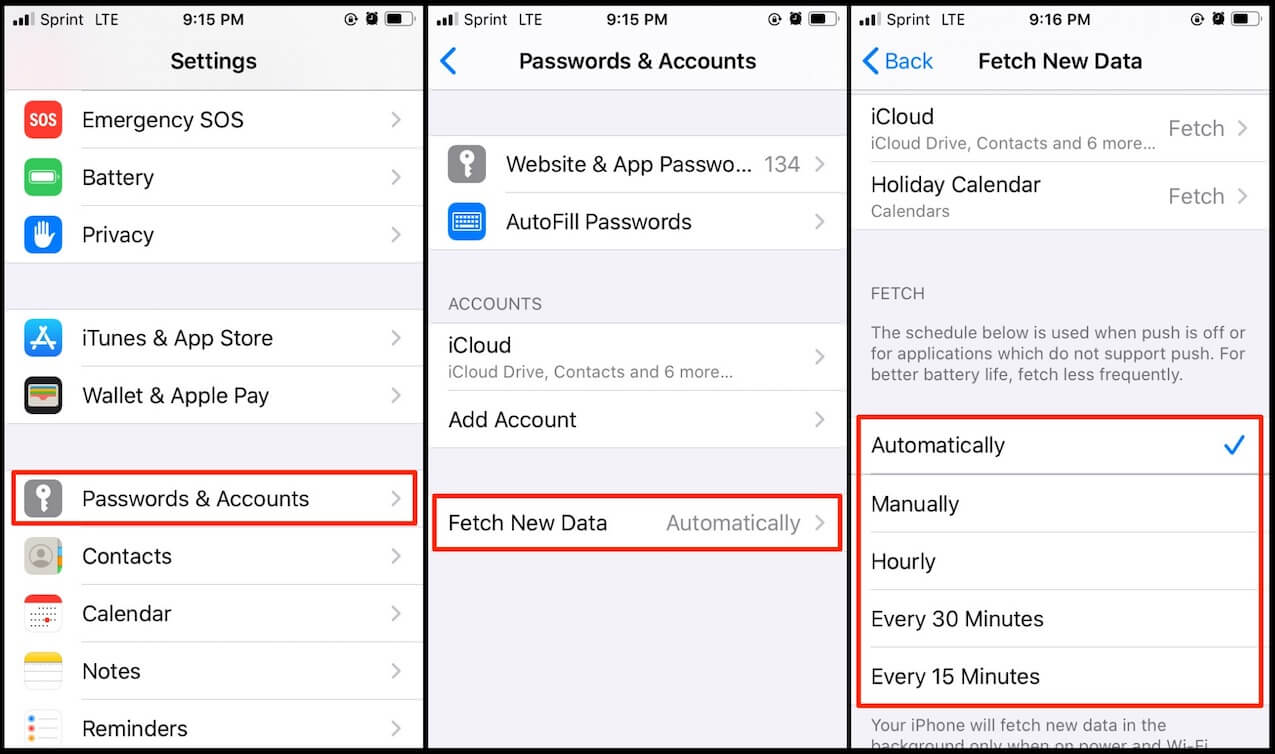 push email settings in ios