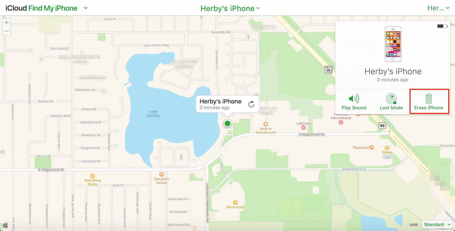 erase iPhone in find my iPhone
