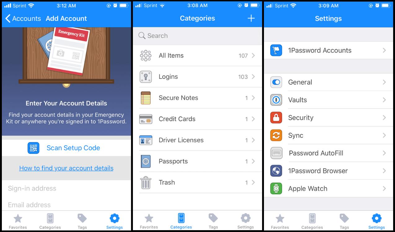 Three screenshots of 1Password app settings
