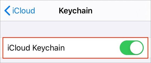 Activate iCloud Keychain on iPhone