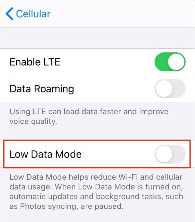 Turning off Low Data Mode on iPhone