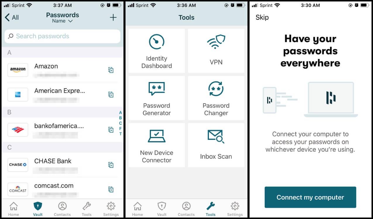 Three screenshots of Dashlane password manager tool