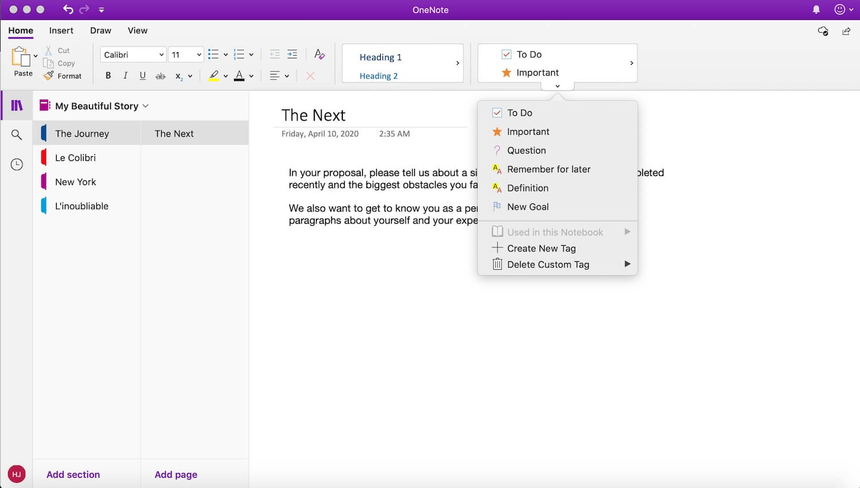 Screenshot of Microsoft Onenote app macOS