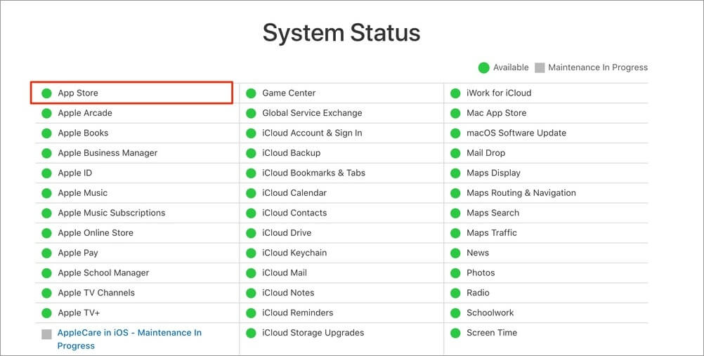 Screenshot of Apple System Status