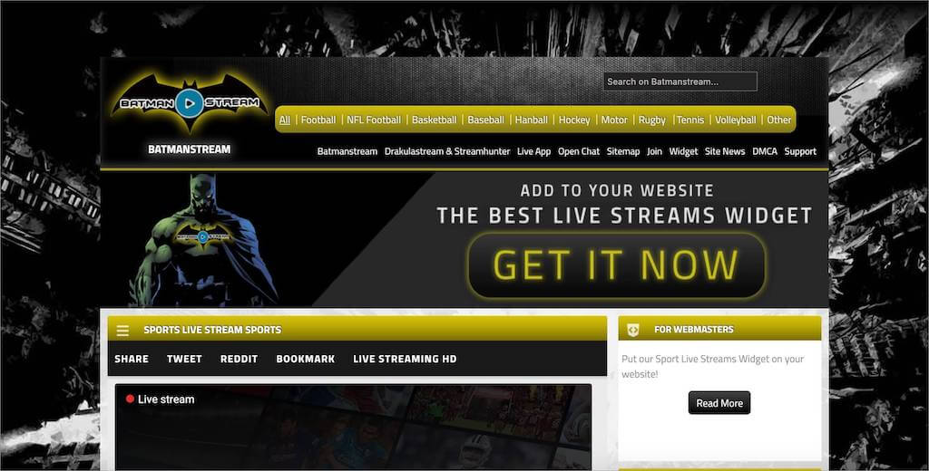 Batmanstream homepage