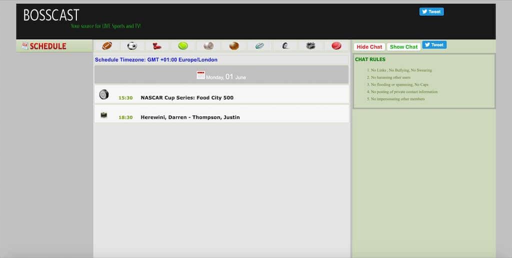 Bosscast.net homepage