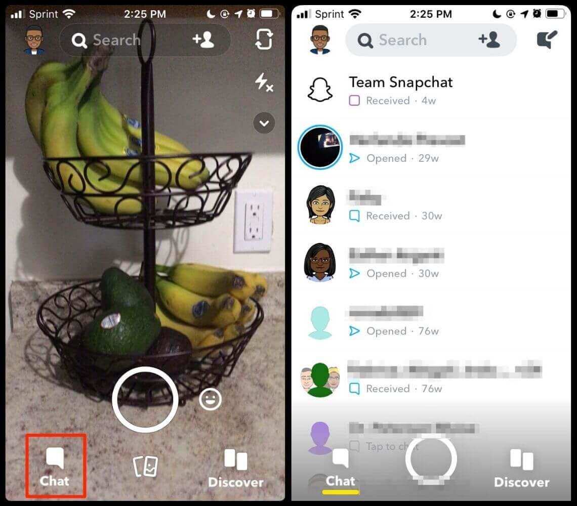 Snapchat chat history