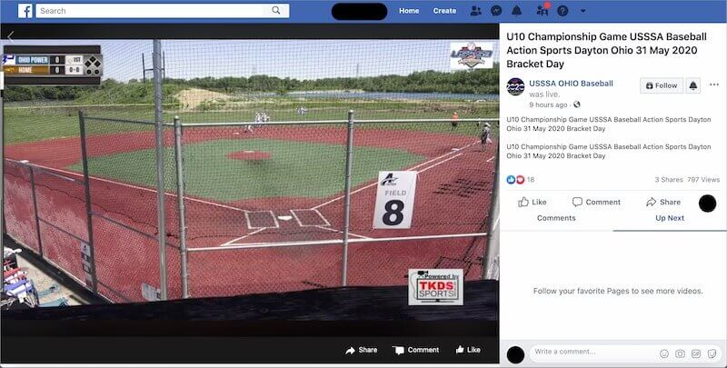 Live baseball game on Facebook Watch
