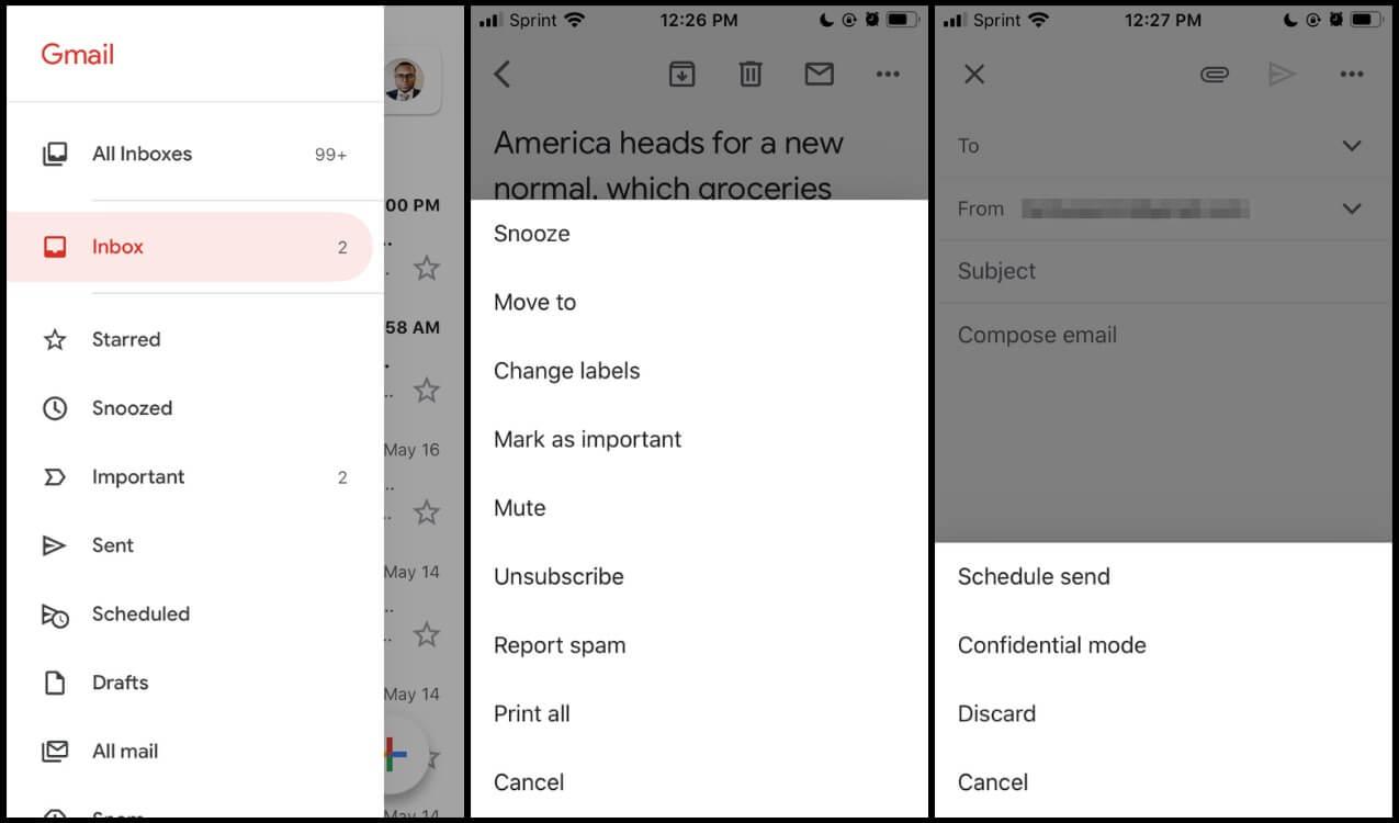 Screenshots of Gmail