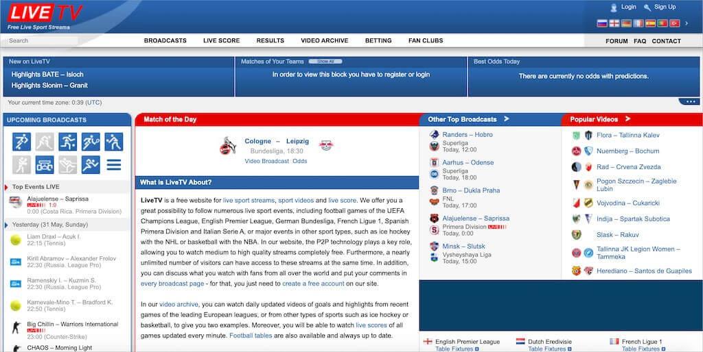 Page d'accueil de LiveTV.sx
