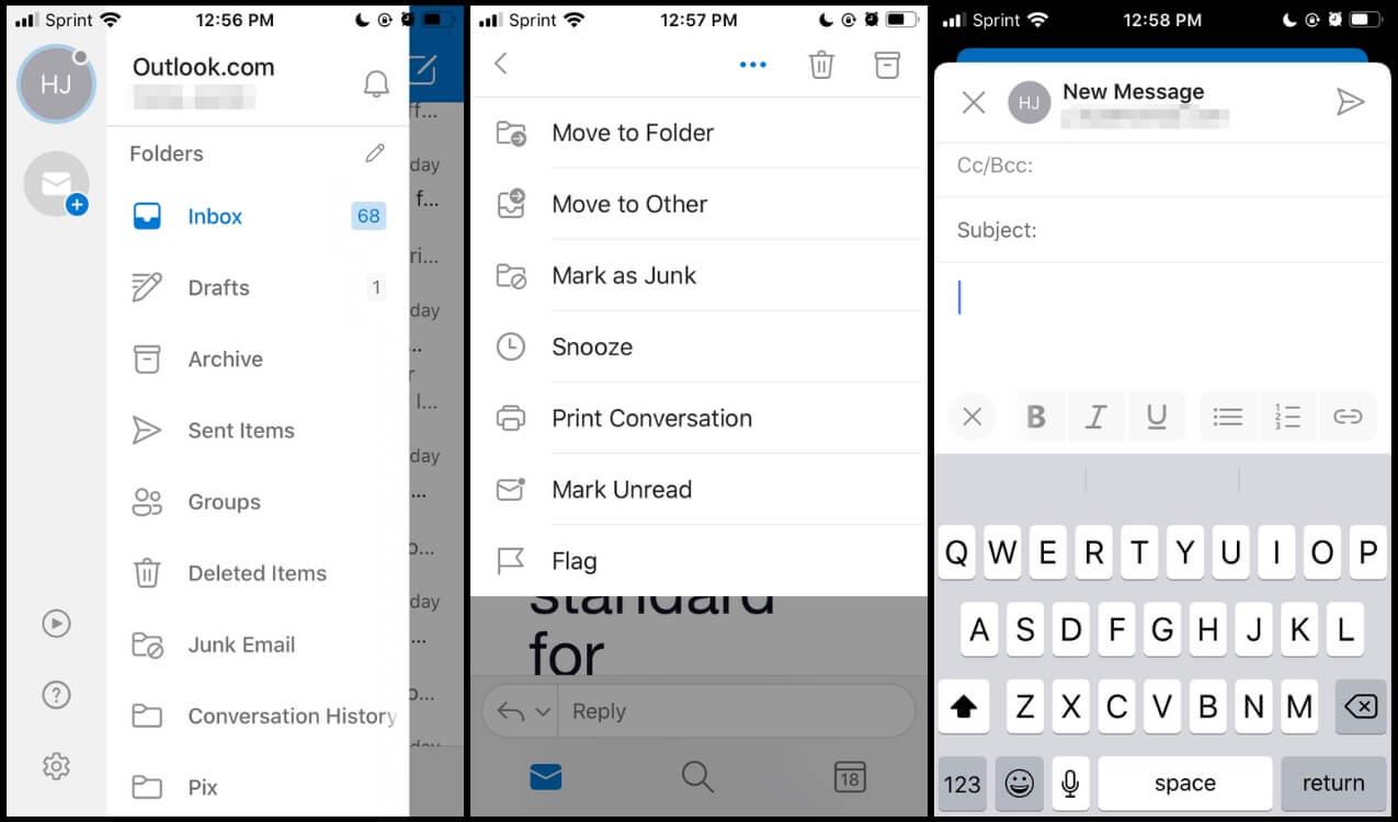 Screenshots of Outlook Mail