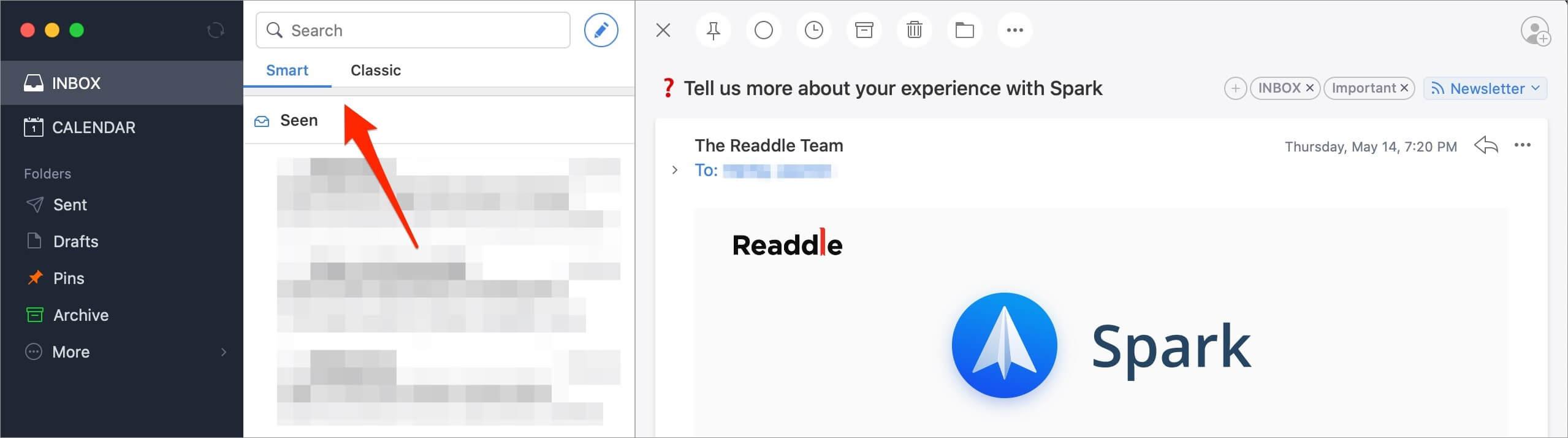 Spark email smart inbox