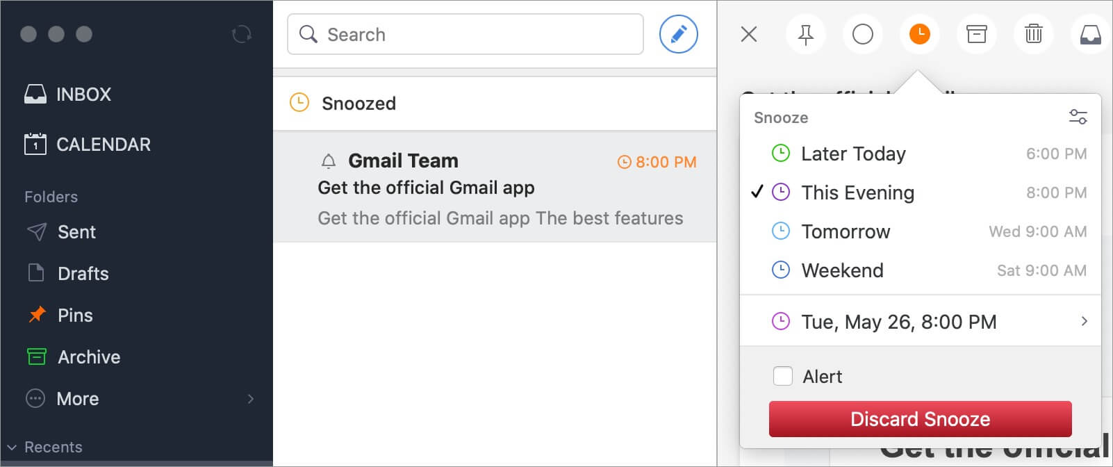 Snoozing emails using Spark