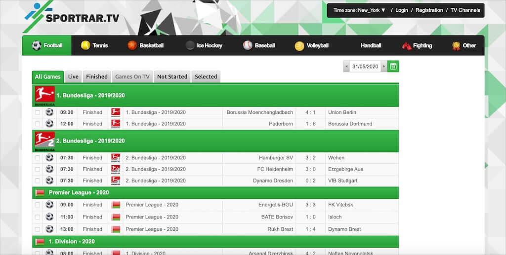 SportRAR.tv homepage