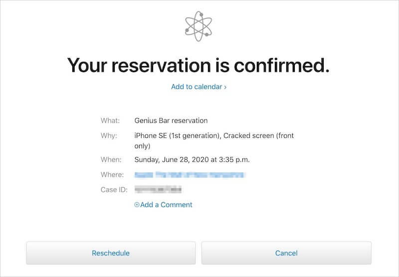 Confirmation screen for Genius Bar with Rescheduled and Cancel options