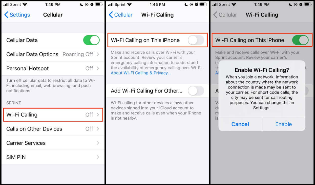 Activating Wi-Fi calling on iPhone