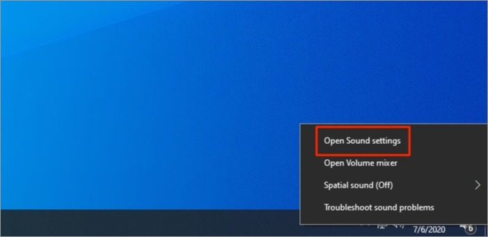 Opening sound settings on Windows 10