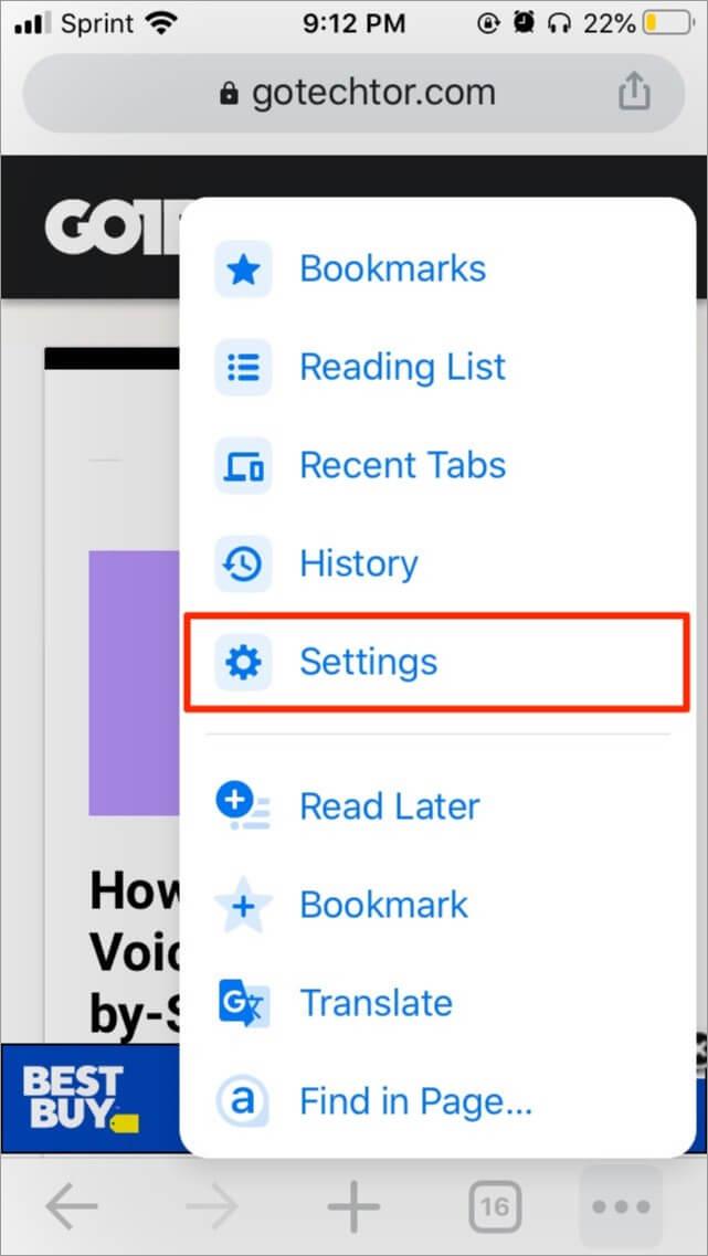 Chrome settings menu on an iPhone
