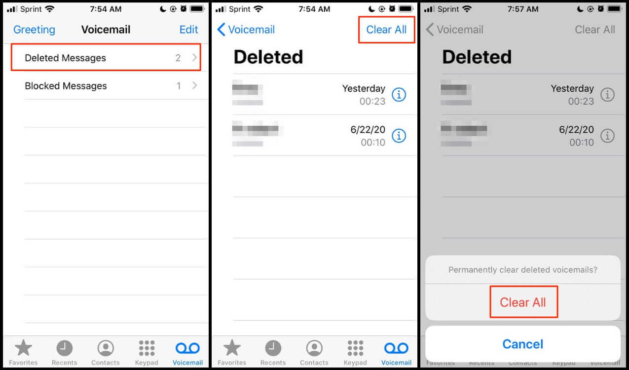 Deleting and clearing deleted voicemails on iPhone