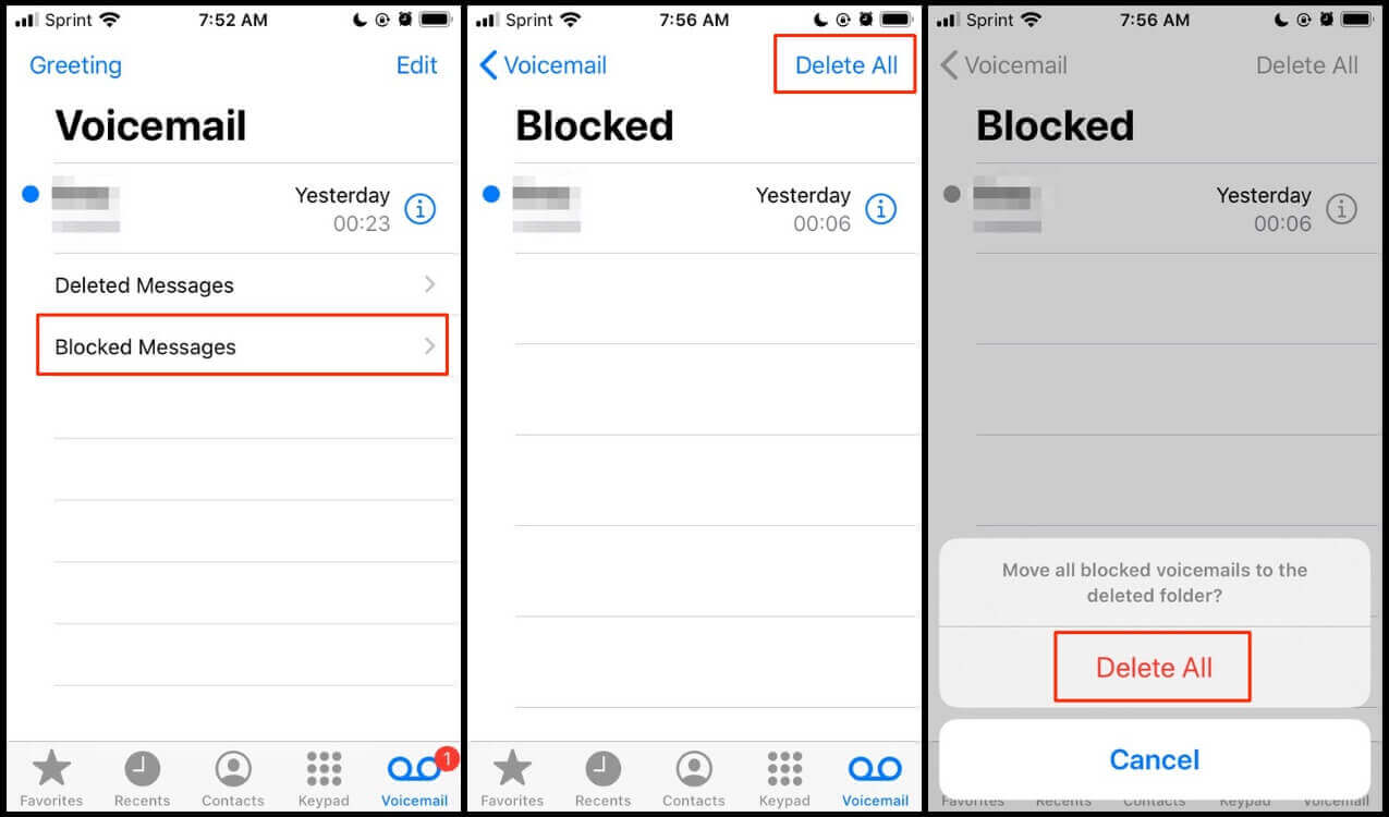 Screenshot showing steps to delete blocked messages