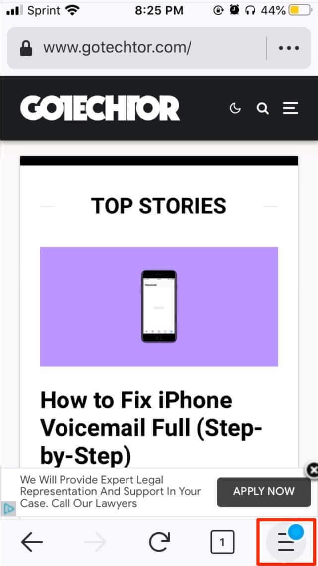 Firefox's menu button on an iPhone