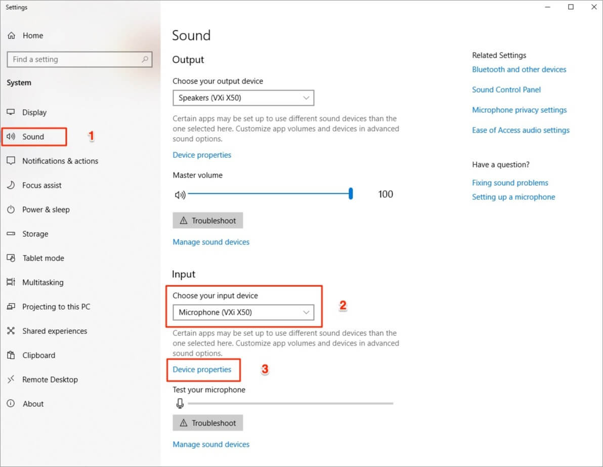 Input device settings on Windows 10