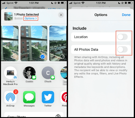 Disabling location and photos data when sharing photos with AirDrop