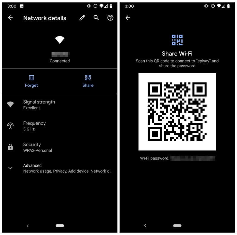 Sharing Wi-Fi password through QR code on Android