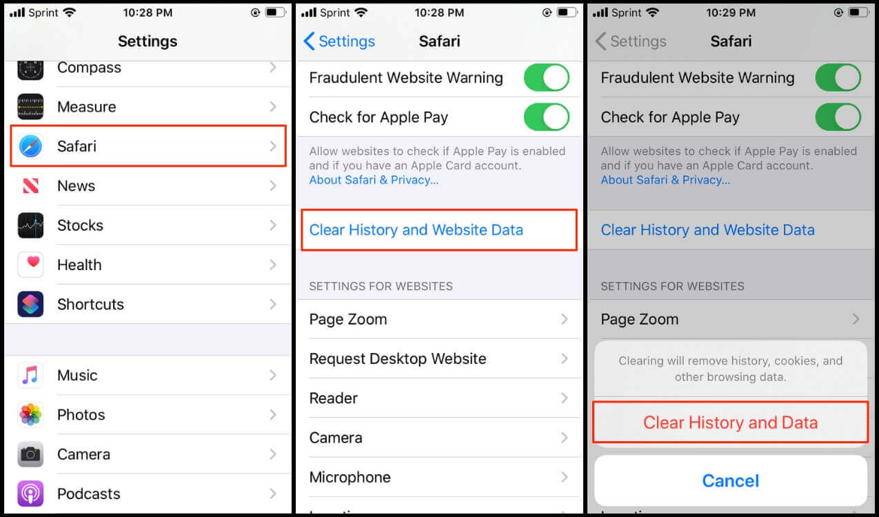Steps showing how to clear Safari History and Website Data