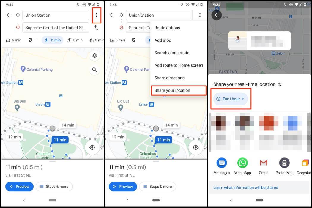 Sharing location on Google Maps