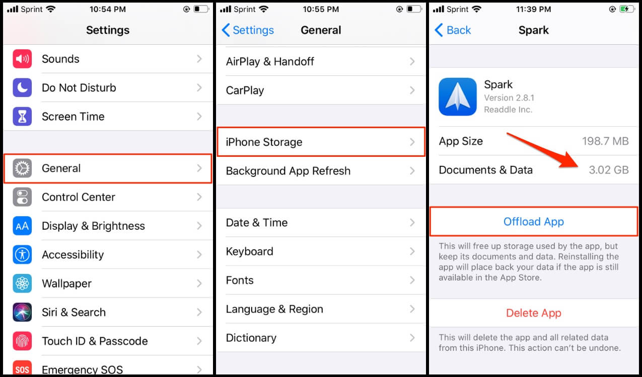 Offload an app to clear iPhone Other storage