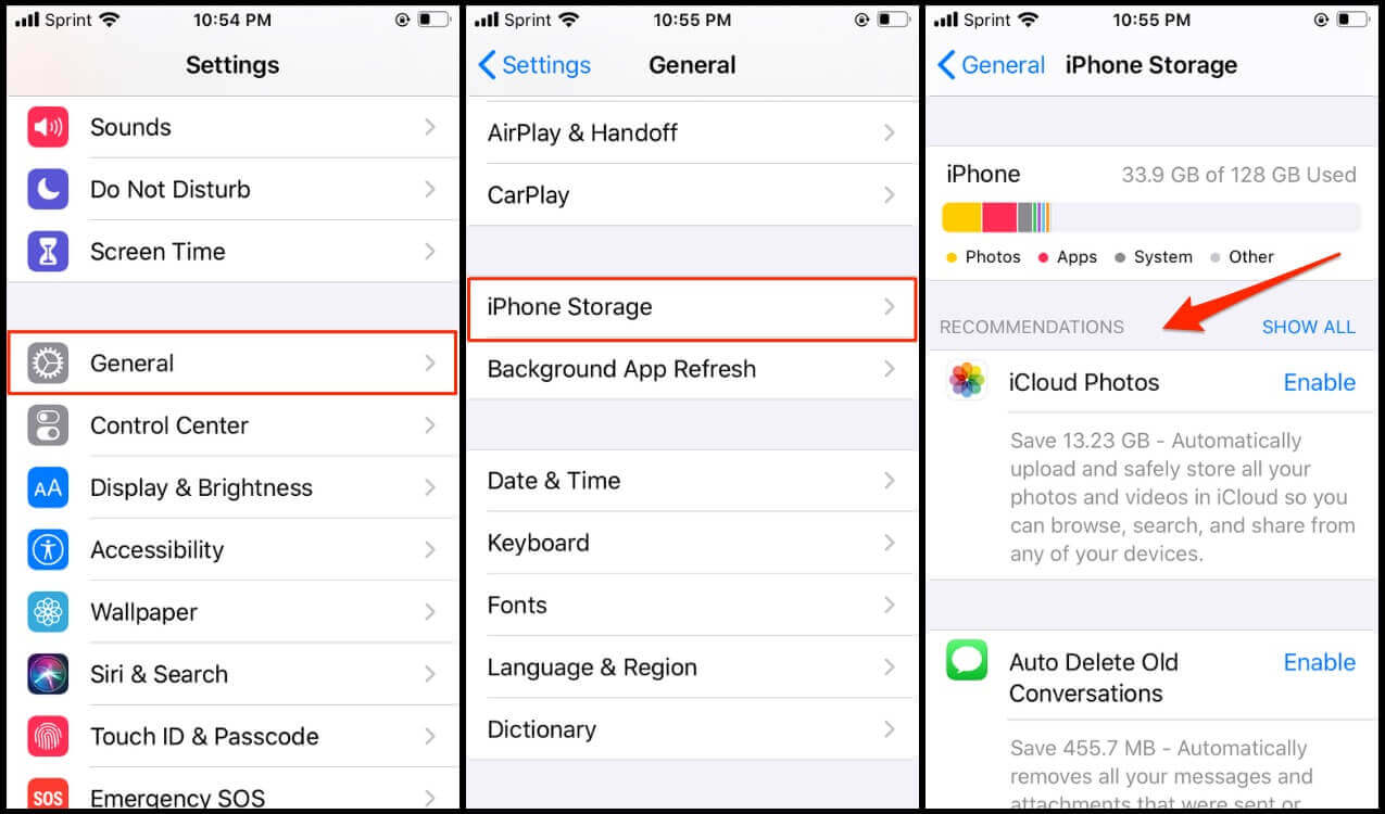 Recomendations to clear iPhone storage