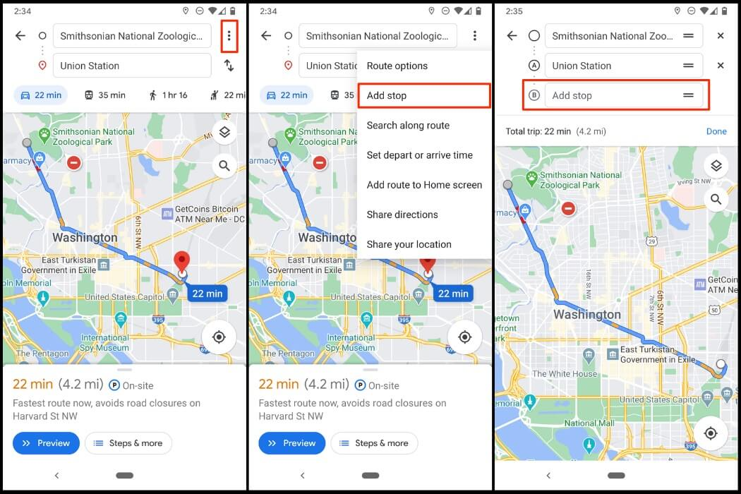 Adding a stop on Google Maps