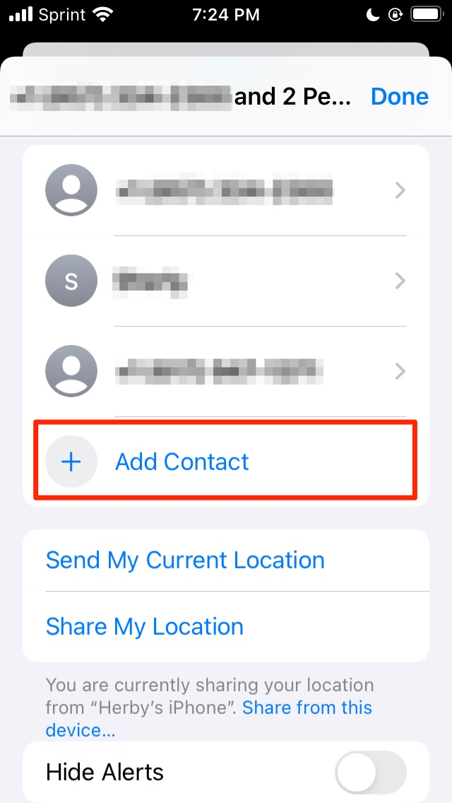 Add contacts to group chat