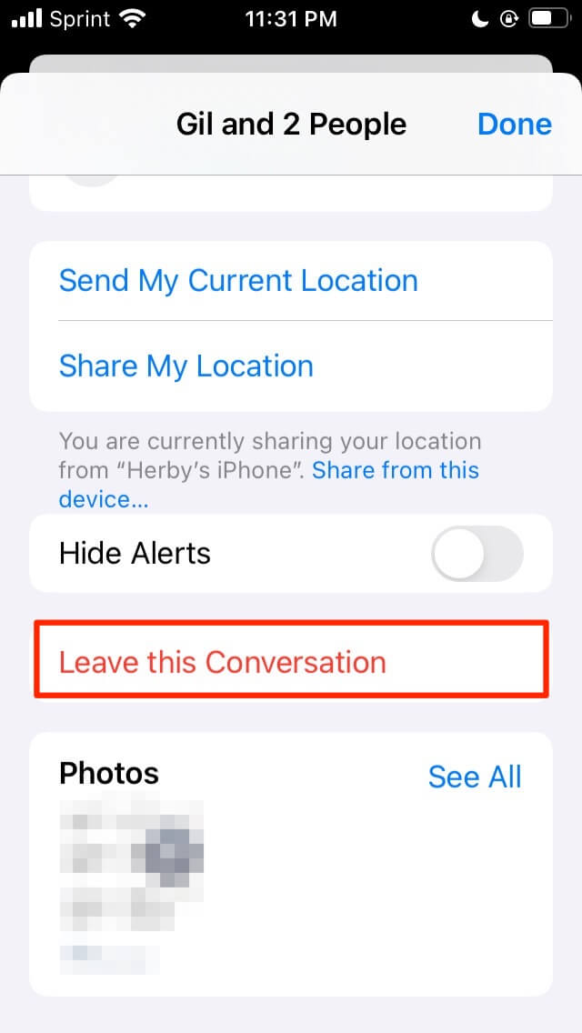 Leave a group chat