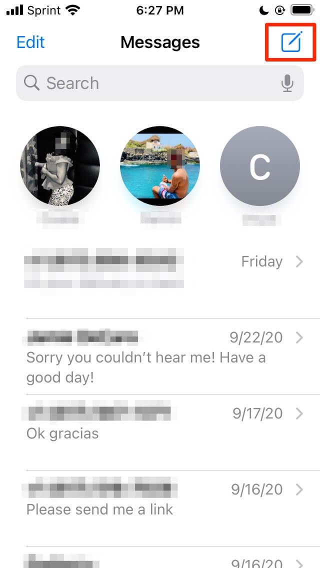 iMessage conversation threads