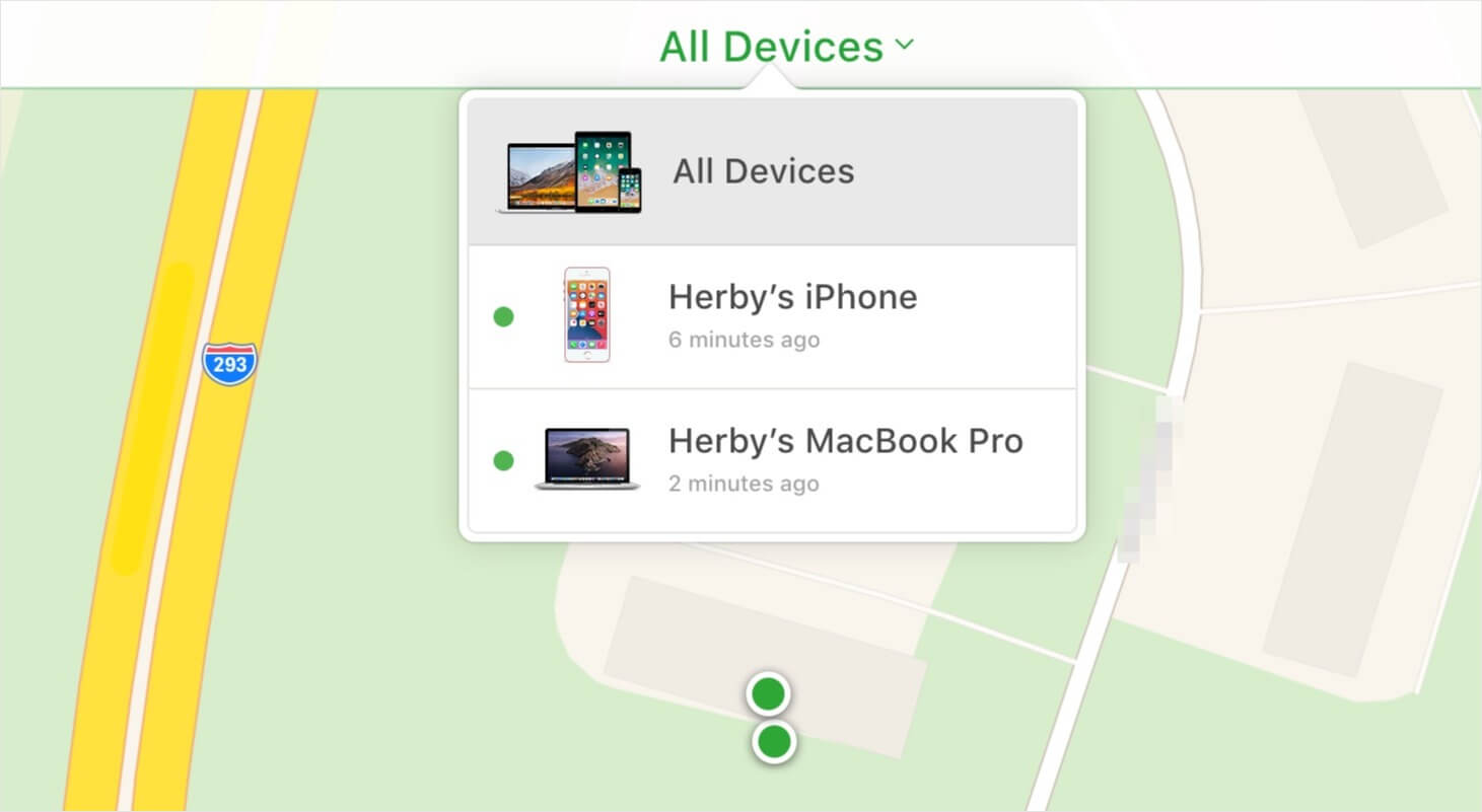 All Devices option in iCloud