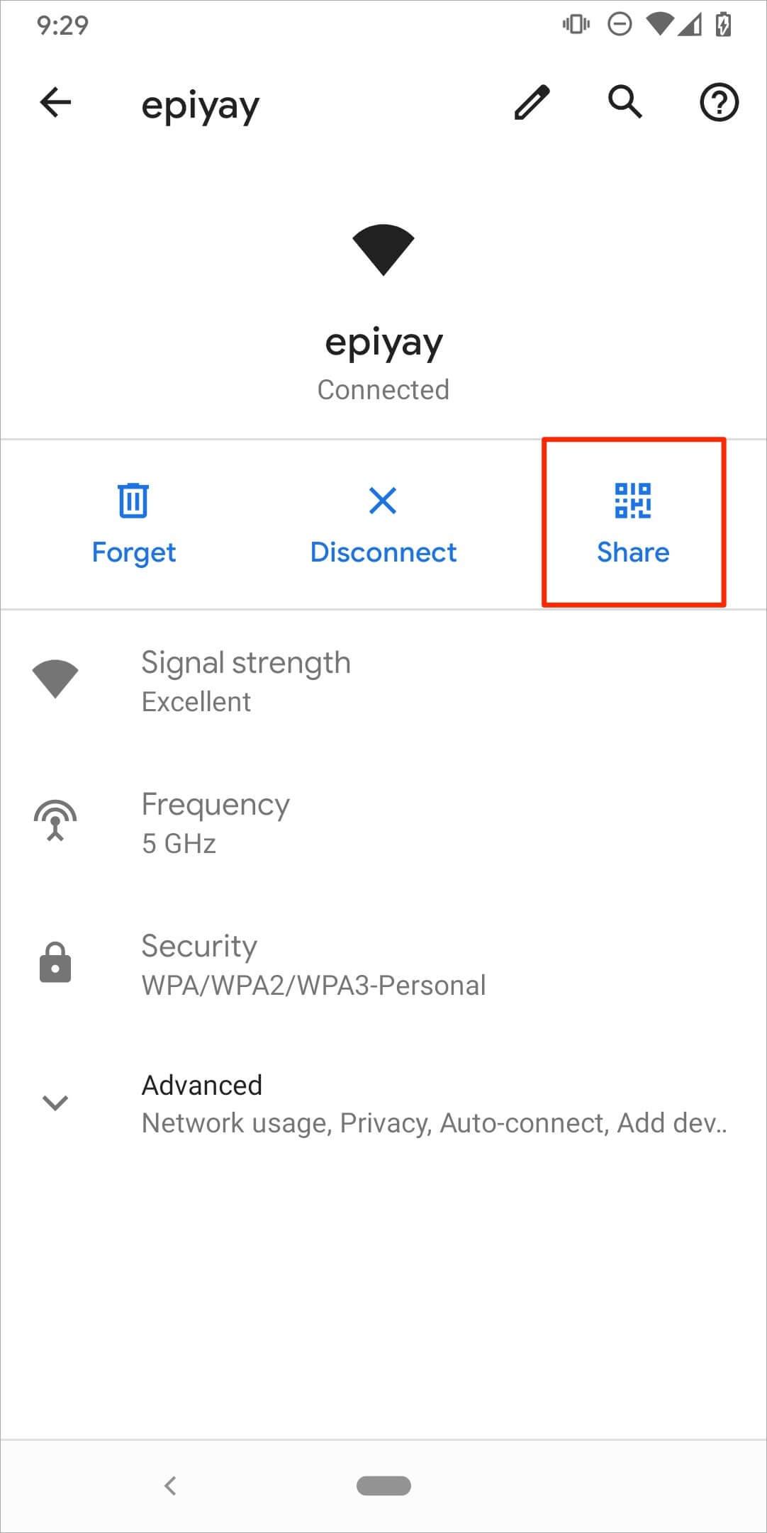 Sharing WiFi password on Android